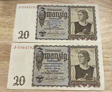 New ListingGermany, 20 mark 1939 (consecutive numbers ), lot of 2, Free Shipping