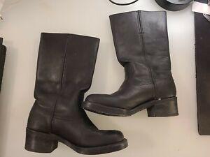 Vintage Frye Campus Boots Black Mid Calf Leather Square Toe Biker Moto Size 7