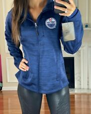 NHL Edmonton Oilers Soft Poly Full Zip Hoodie Jacket, Blue, Women's L