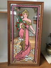 More details for art nouveau alphonse mucha printemps mirror  vintage 1970s rare pink