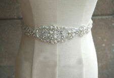 Wedding Dress Sash Bridal Bridesmaid Crystal Beaded Rhinestone Ribbon Waist Belt