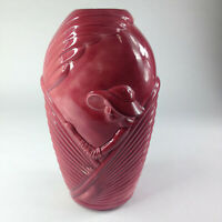 Vtg Large Art Deco Ceramic Woman Lady Hat Vase Red Maroon 80s Modernist Pottery
