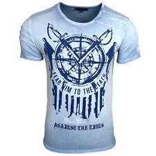 RUSTY NEAL Kurzarm T-Shirt stylisches Freizeit-Shirt für junge Männer Hellblau