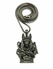 "Egyptian Hematite Black Anubis Pendant & 2mm 24"" Box Chain Hip Hop Necklace"