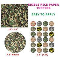 Camouflage Army Green Khaki  Print Cake/Cupcake Topper On Edible Rice Paper