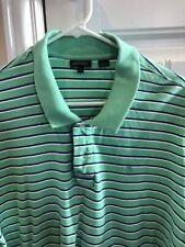 EUC DKNY Green/blue Striped 100% Cotton Golf Polo/XL