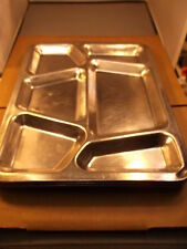 "#2, LOT OF 4 VTG ""CARROLLTON, USA MFG"" STAINLESS, STEEL US NAVY MESS HALL TRAYS"