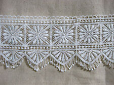 LM13 White vintage bohemian flowers triangle fringe scallop lace 12cm x 2 yards