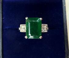 Fabulous 18ct white gold art deco 4ct Emerald and Diamond trilogy ring