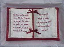 Vino Borgogna book style personalizzata Anello Nuziale Cuscino in scatola di presentazione