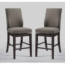 """Set of 2 Tillary 24""""H Swivel Counter Height Stools Chairs Gray Fabric Wood Legs"""