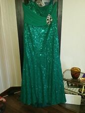 Abendkleid Kleid Paillettenkleid Hochzeit Verlobung Strass  grün Gr. 44 46 L XL
