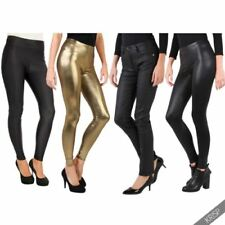 Faux Leather Solid Stretch Pants for Women
