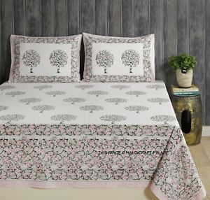 Indian Hand Block Print Double Size Cotton Bed Sheet With Two Piece Pillow Cover