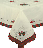 Christmas Embroidered Poinsettia Candle Tablecloth With Napkins Holiday 3610