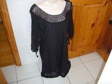 Designer SOLITAIRE LOS ANGELES black crochet lace dress size L boho size 12-14 a