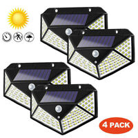 4x 100LED Solar Lights PIR Motion Sensor Wall Outdoor Garden Lamp Waterproof