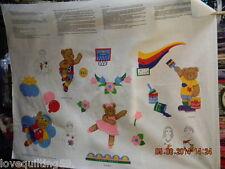 """QUILT FABRIC PANEL""  Children's Applique Pieces.Girls/Boys,Bears, Balloons"