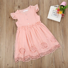 Cute Toddler Baby Girls Flower Cotton Dress Kid Summer Casual Party Dresses Pink