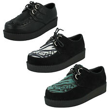 SALE LADIES SPOT ON SUEDE CASUAL LACE UP PLATFORM WEDGE CREEPERS SHOES F95588
