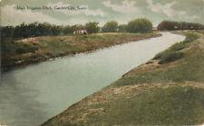 Garden City KS * Main Irrigation Ditch 1914 * Somers, WI  Postmark  Finney Co.