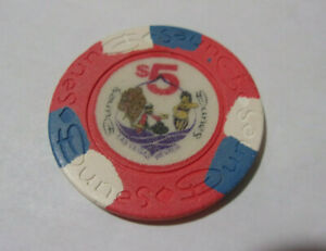 DUNES HOTEL CASINO $5 CASINO hotel gaming poker chip - Las Vegas, NV
