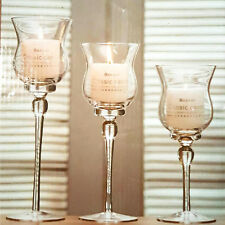 Set of 3 Tall Glass Large Candle Holders Centrepiece Tea-Light Wedding Candles R
