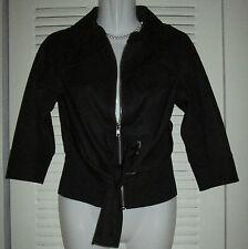 $410 Byron Lars Beauty Mark Crop Band Waist Zipper Tie Front sports Jacket BLK