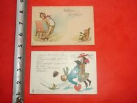 JA294 Vintage LOT 2 Valentines Day Postcards Signed Outcault