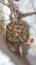 Vintage Faux Grandmother Clock Pendant Necklace with Rhinetone High Lights
