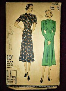"V.RARE VINTAGE 1930's DU BARRY SEWING PATTERN 1929B MIDI DITSY DRESS BUST 36"""