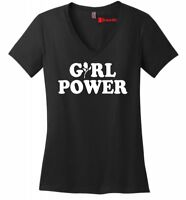 Girl Power Ladies V-Neck T Shirt Feminism Graphic Tee Gift Tee Z5