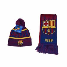 FC BARCELONA  SCARF & BEANIE SET KIT SOCCER hat cap Lionel Messi AUTHENTIC