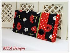 POPPIES 'n DAISIES~Soft Eyeglass/Sunglass Case w/Button~Padded~Lined~Handmade