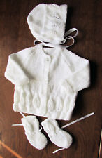 White 3 piece matinee set new 0 to 3 months hand knitted coat bonnet  booties .