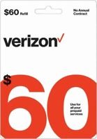 Verizon Wireless- $60 Refill,  Top-Up Airtime Card for Verizon Prepaid Service
