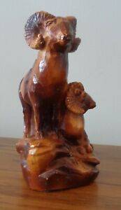 Amy Artcrafts Canada Pair of Horned Sheep Resin Sculpture