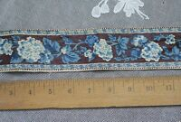 "Antique French HandBlocked Blue & Brown Floral Chintz Border Fabric~2yds18""LX2""W"