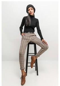 Women's belted tapered Ladies high waist Jasmyn Trouser Check Beige Pants