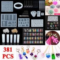 381pcs Resin Casting Mold Jewelry Pendant Epoxy Silicone Set Craft DIY Kit
