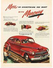 1946 Mercury Automobile Car Wooden Bridge Boy Wading art Vtg. Print Ad