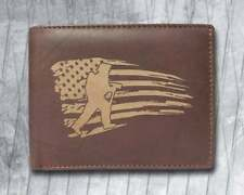 Firefighter Distressed USA Flag Cowhide Leather Laser Engraved Wallet Purse NEW