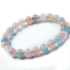 Natural Colorful Morganite Gemstone Clear Women Round Beads Bracelet 8mm AAAA