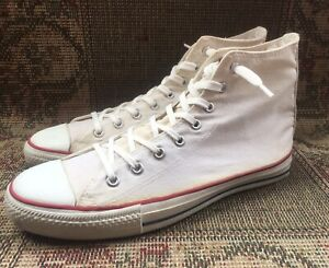 Vintage White Converse All Star Chuck Taylor Hi Top SneakerSize 11.5 Made In USA