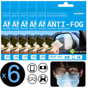 6 Reusable Anti Fog Glasses Cloth Lens Cleaning Wipe Facemask Eyeglasses Cleaner