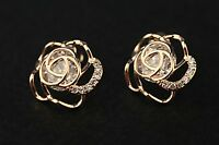 18K REAL Gold Plated Flower Earrings Studs Designer Fashion Jewellery Rose Gold