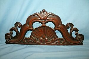 Antique Walnut Pediment Salvage Architectural Header Carved Shell Decoration