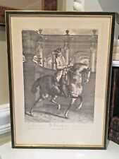 "Framed 18th C JOHANN ELIAS RIDINGER ""LE TROT A DROITE"" Copperplate Engraving"