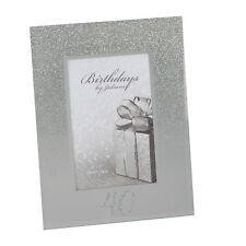 Silver Glitter & Mirror Photo Frame with Number - 40th Birthday / Anniversary