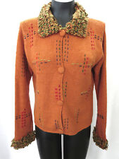 Planet Earth Womens Sweater M Copper Orange Fringed Hand Loomed Cardigan Jumper